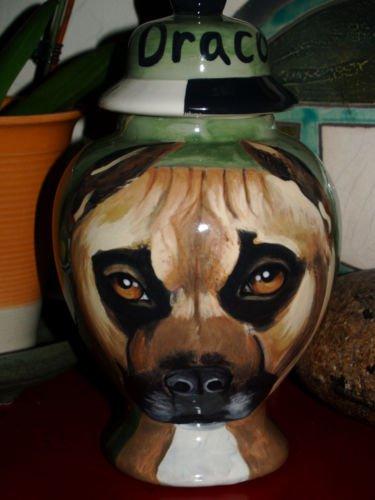 Custom Portrait MEMORIAL Pet URN DOG PIT BULL cremation ASHES burial vessel rare