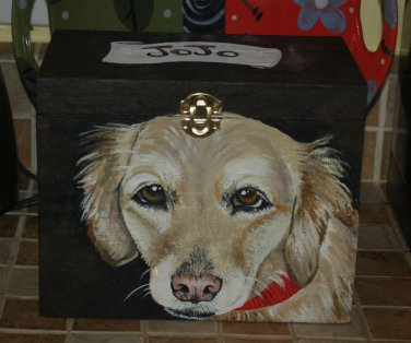 Custom hand painted portrait memorial LARGE Wood box Golden Retriever any breed