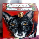 Custom hand painted portrait memorial LARGE  Wooden box terrier urn any Pet URN