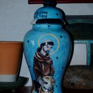 Custom Portrait MEMORIAL Pet URN DOG cremation ASH St Francis of Assisi with dog