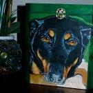 Custom hand painted portrait memorial LARGE Wood box Pet URN shepherd dobie mix