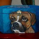 Custom hand painted portrait memorial LRG Wooden box BOXER urn any Pet URN RARE