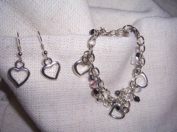 Swarovski Crystal Adorable Hearts bracelet set by A Touch of Earth
