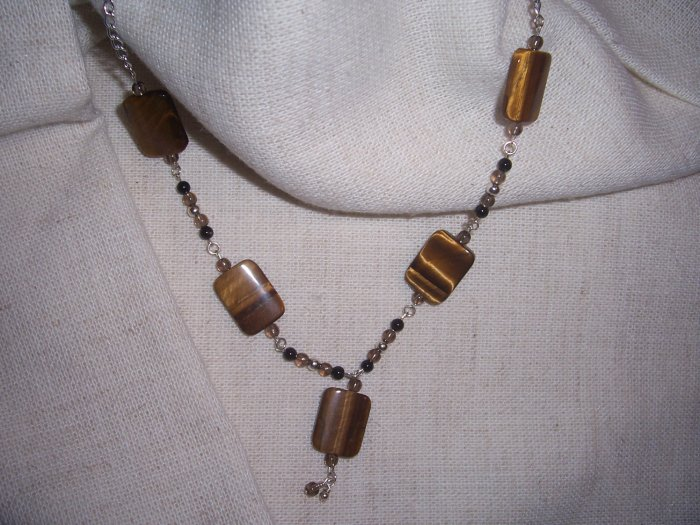 Tiger's Eye, Smoky Quartz and Hematite Necklace