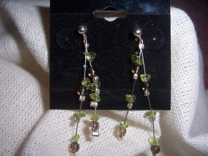 Peridot and Garnet Sterling Silver earrings by A Touch of Earth