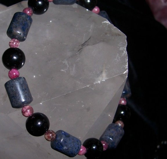 Dumortiorite Pink Tourmaline Blackstone Sterling Silver Bracelet by A Touch of Earth