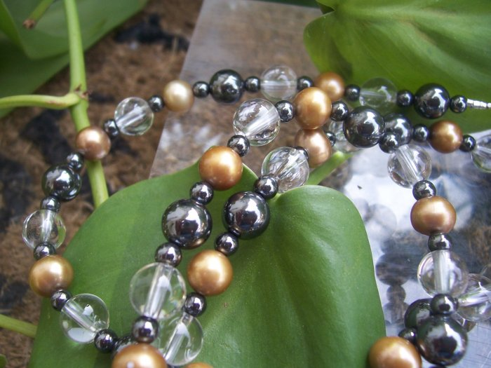 Clear Quartz Gold Freshwater Pearl and Hematite Endless loop necklace by A Touch of Earth