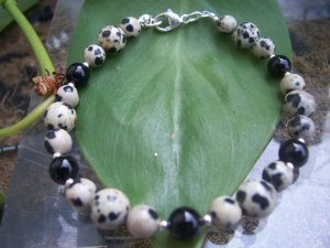 Dalmation Jasper Blackstone Sterling Silver bracelet by A Touch of Earth
