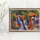 Girl Under the Trees Cross Stitch KIT by August Macke