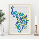 Abstract Peacock Cross Stitch KIT