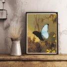 Blue Morpho Butterfly Cross Stitch Chart by Martin Johnson Heade
