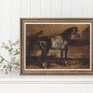 Gray Horse Cross Stitch Kit by Theodore Gericault