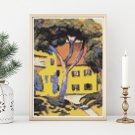 House in a Landscape Cross Stitch Chart by August Macke (MINI)
