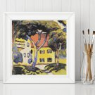 House in a Landscape Cross Stitch Chart by August Macke