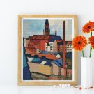 St. Mary's with Houses and Chimney Cross Stitch Chart by August Macke