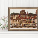 A House with Drying Laundry Cross Stitch Kit by Egon Schiele