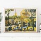 Terrace Of The Cafe La Guinguuette Cross Stitch Chart by Vincent Van Gogh