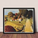 Birthplace of Herbert Hoover Cross Stitch Chart by Grant Wood