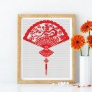 Oriental Fan Cross Stitch Chart