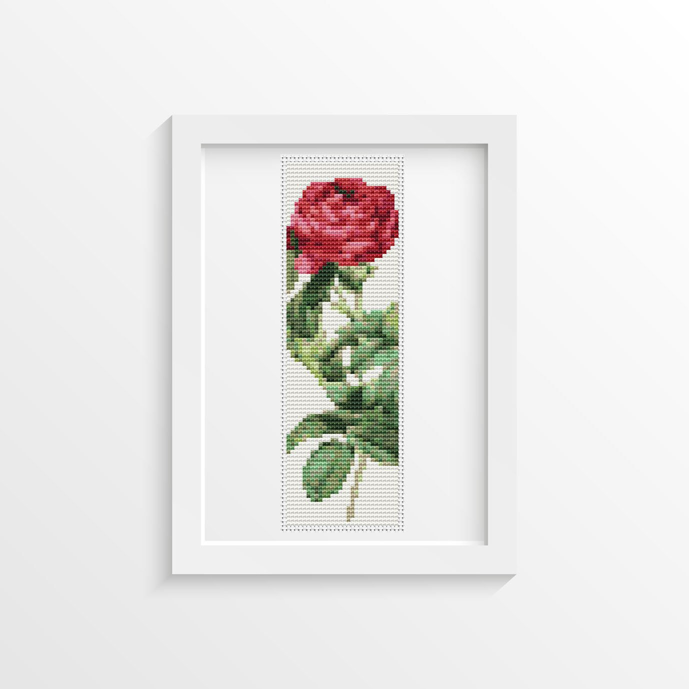 Rosa Gallica Pontiana Cross Stitch Kit by Pierre-Joseph Redoute (BOOKMARK)