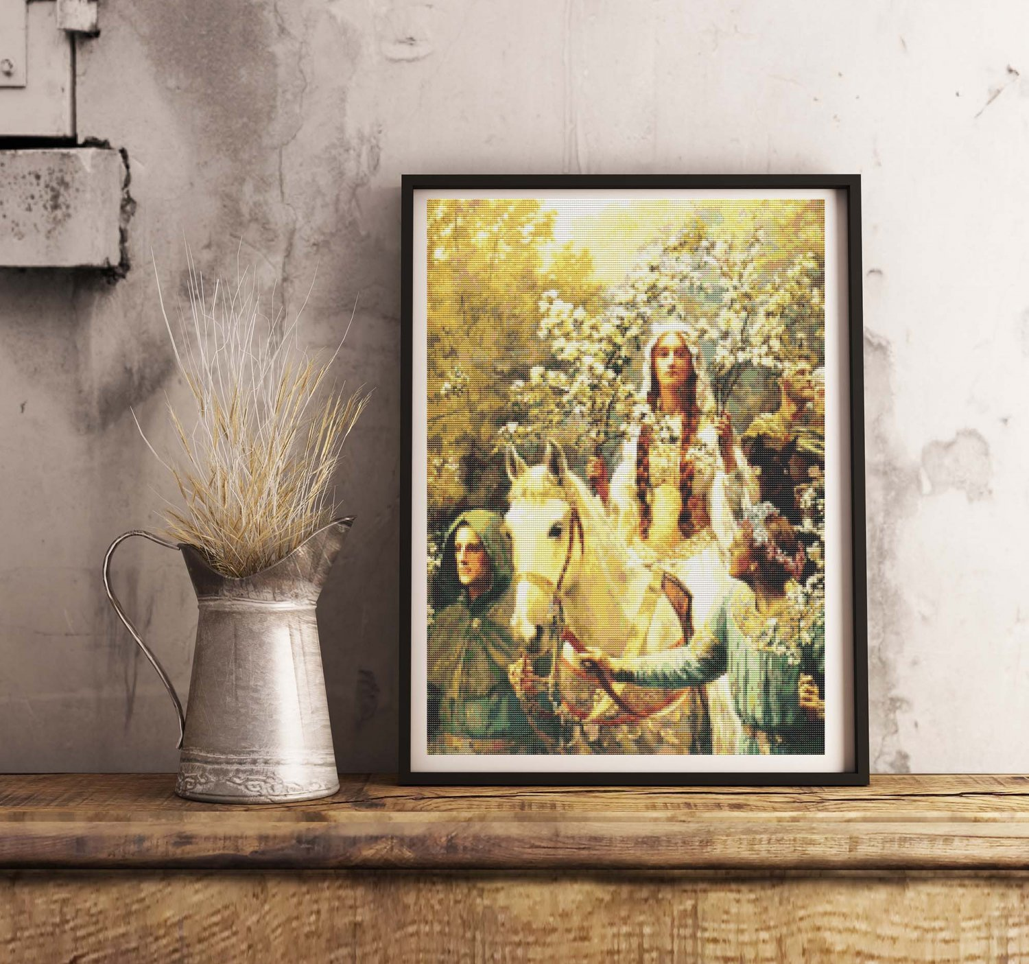 Queen Guinevere's Maying Cross Stitch Chart by John Collier