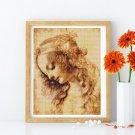 A Woman's Head Cross Stitch Chart by Leonardo da Vinci