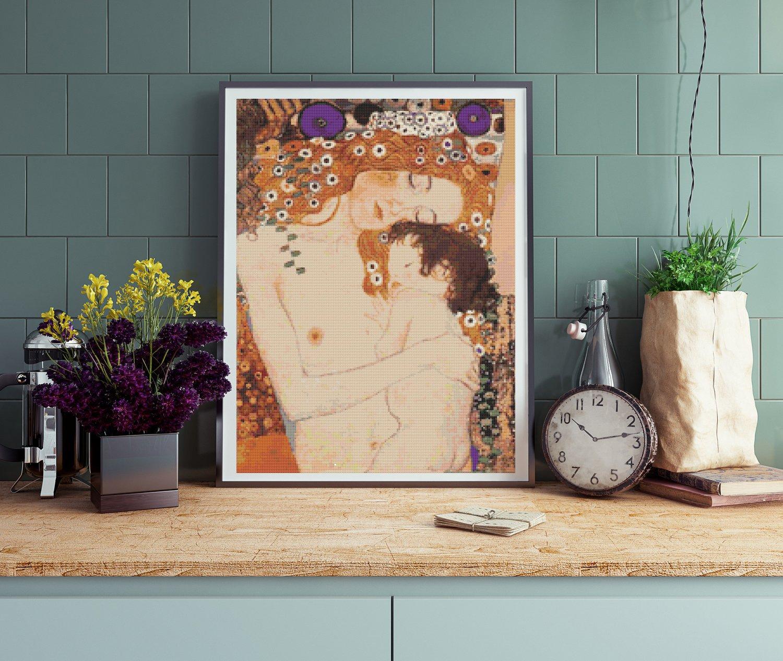 Mother and Child Cross Stitch Kit by Gustav Klimt