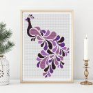 Abstract Peacock in Purple Cross Stitch Chart