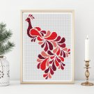 Abstract Peacock in Red Cross Stitch Chart