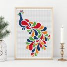 Abstract Peacock in Rainbow Cross Stitch Chart