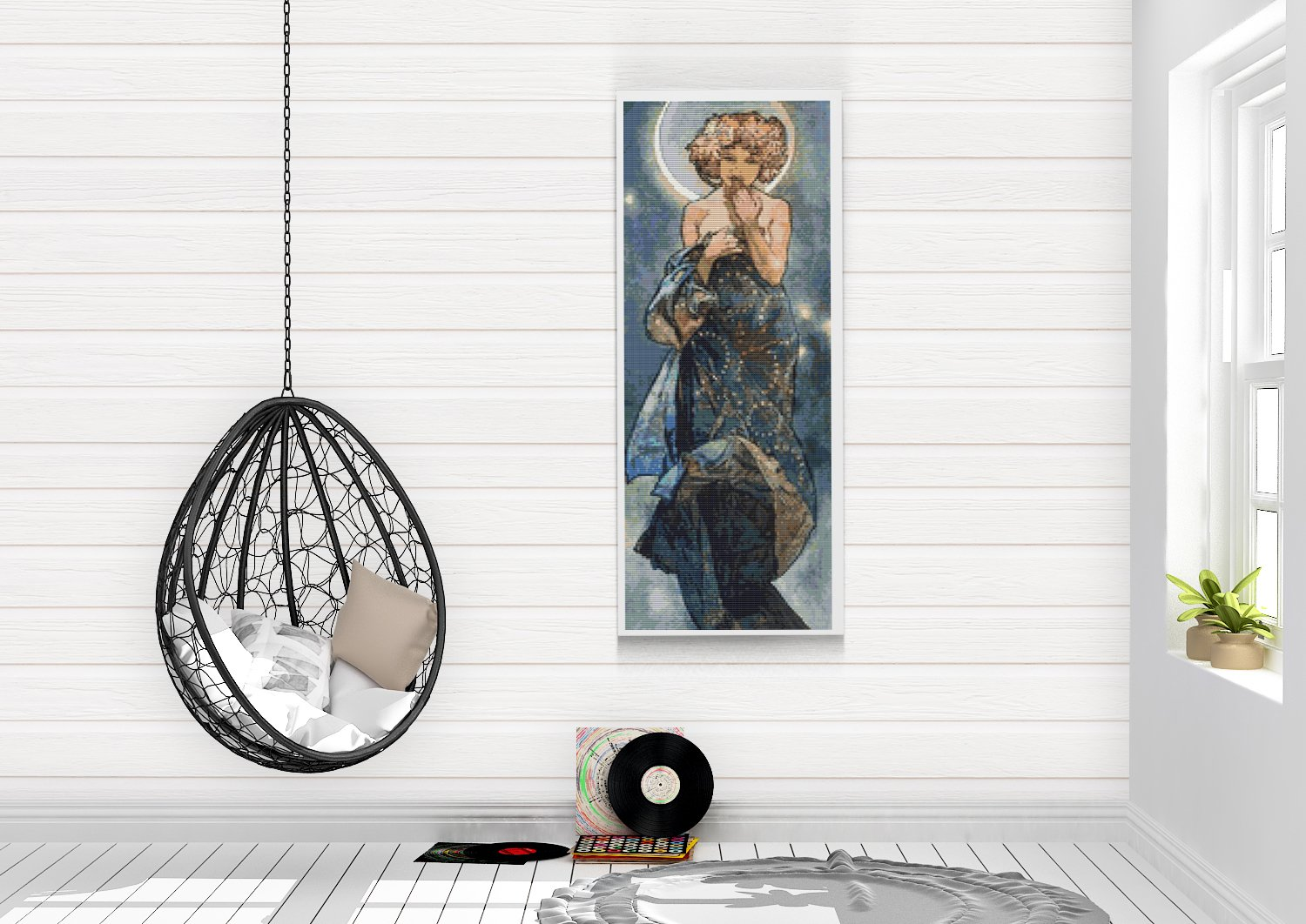 Claire Du Lune Cross Stitch Kit by Alphonse Mucha