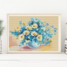 Daisies in a Sea of Blue Cross Stitch Kit