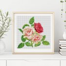 A Trio of Pink Roses Cross Stitch Chart