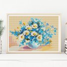 Daisies in a Sea of Blue Cross Stitch Chart