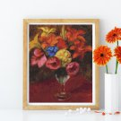 Poppies, Lilies and Blue Flowers Cross Stitch Kit by William James Glackens