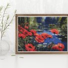 Poppies in the Pond Cross Stitch Kit by William Jabez Muckley