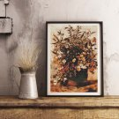 Autumn Berries and Flowers in Brown Pot Cross Stitch Chart by John Constable