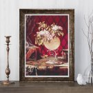 Apple Blossoms in a Nautilus Shell Cross Stitch Chart by Martin Johnson Heade
