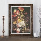 Flowers Still Life with Butterfly Cross Stitch Chart