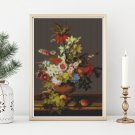 Still Life of Flowers, Grapes and Peaches Cross Stitch Chart by Leopold Von Stoll