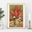 Vase with Red Gladioli Cross Stitch Chart by Vincent Van Gogh