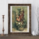 Vase with Hollyhocks Cross Stitch Chart by Vincent Van Gogh