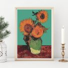 Vase with Three Sunflowers Cross Stitch Chart by Vincent Van Gogh