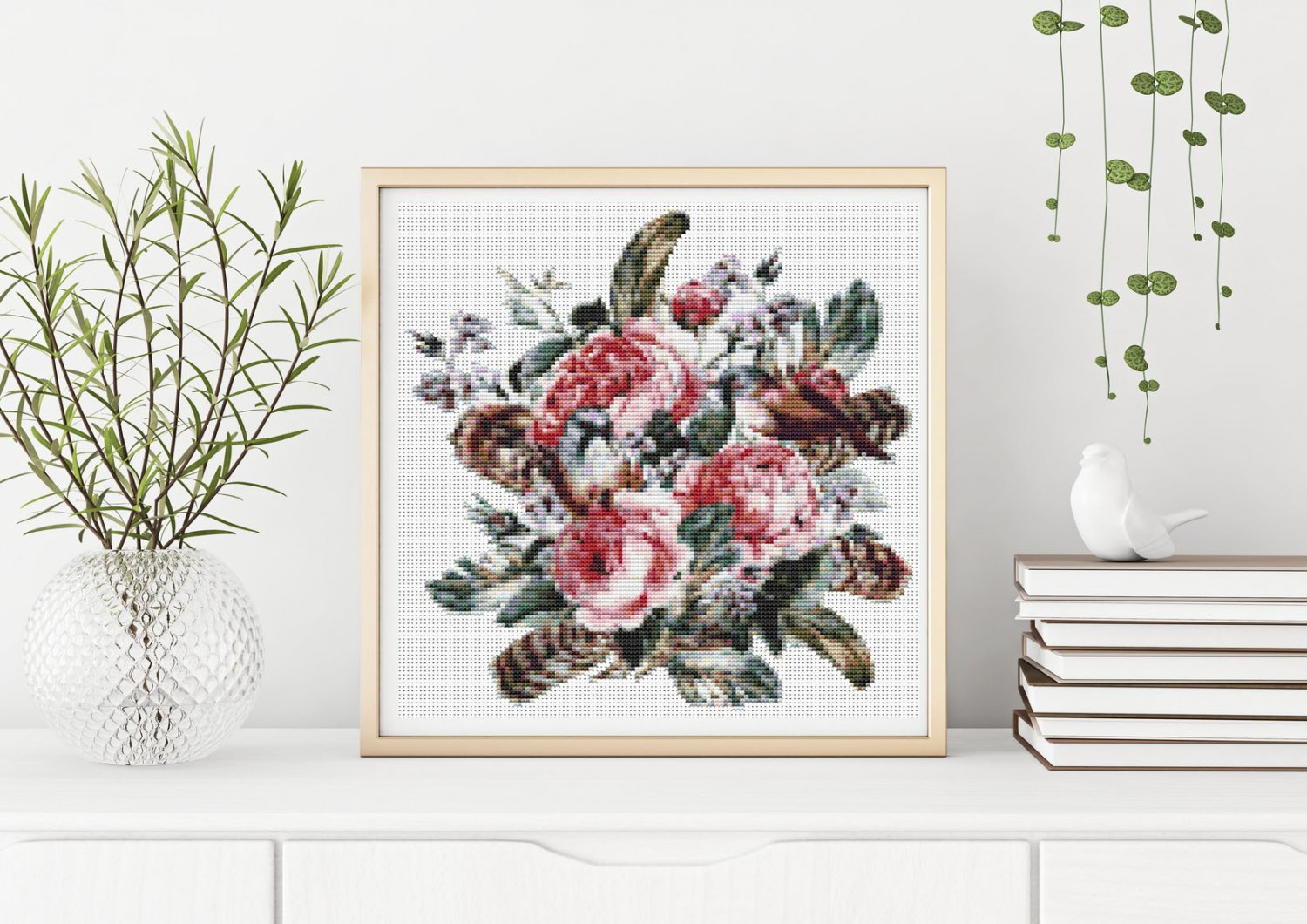Roses and a Hummingbird Cross Stitch Chart