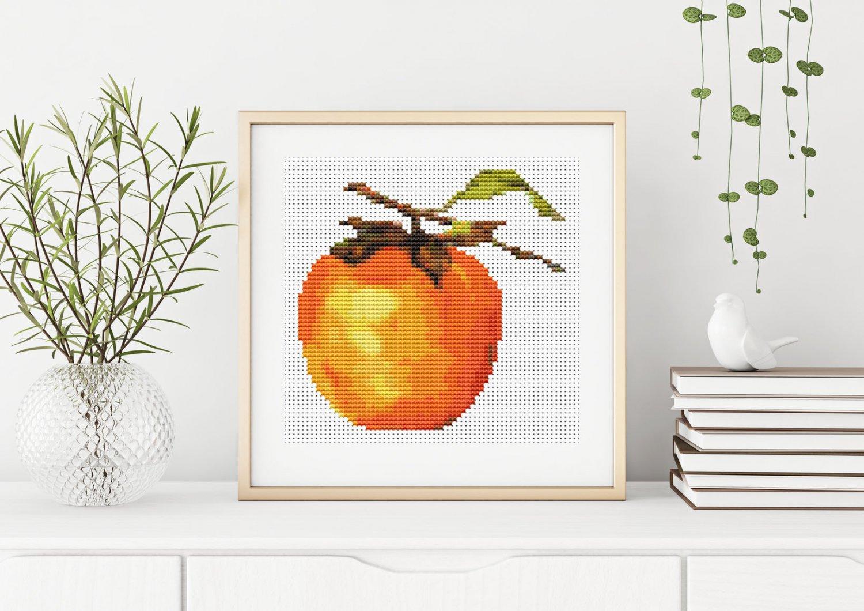 Fruit Series: Persimmon Cross Stitch Kit