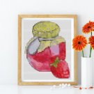 Jar of Strawberries Cross Stitch Chart