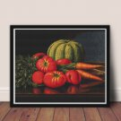 Still Life with Cantaloupe, Tomatoes and Carrots Cross Stitch Chart by Levi Wells Prentice