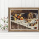 Still Life with Apples and Grapes Cross Stitch Chart by Claude Monet