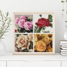 Four Squares featuring Roses Cross Stitch Chart