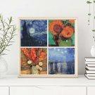 Four Squares featuring Vincent Van Gogh Cross Stitch Chart